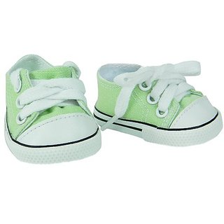 Fits Your 18 Inch Doll Made by Sophias. Designer Doll Clothes Affordably Priced!-Lime Canvas Sneakers-White Imitation L