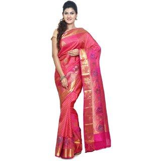 Sudarshan Silks Pink Art Silk Plain Saree With Blouse