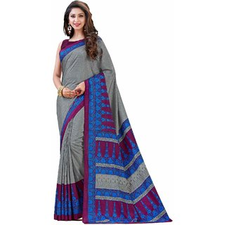 Sudarshan Silks Grey Crepe Plain Saree With Blouse