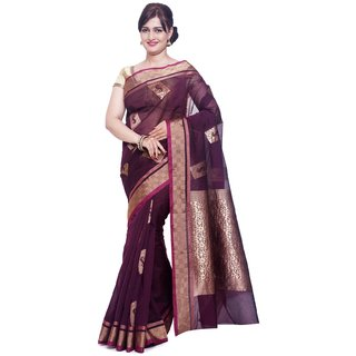Sudarshan Silks Beige Cotton Plain Saree With Blouse