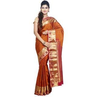 Sudarshan Silks Gold Art Silk Plain Saree With Blouse