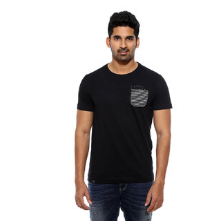 Mufti Black Round Neck Half Sleeve Mens T-Shirts
