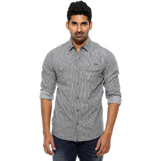 Mufti Black Spread Full Sleeves Mens Casual Shirts