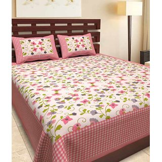 Ruby Creation Cotton Printed 1 Double Bedsheet With 2 Pillow Cover (RUBYDB-18)