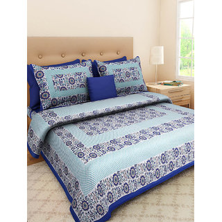 Ruby Creation Jaipuri Printed Cotton 1 Double Bedsheet With 2 Pillow Cover (Double407)