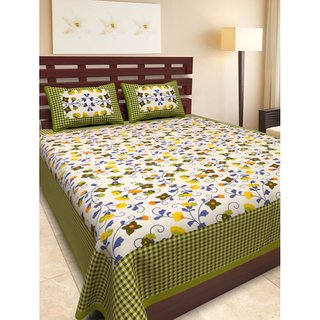 Ruby Creation Cotton Printed 1 Double Bedsheet With 2 Pillow Cover (RUBYDB-1758)