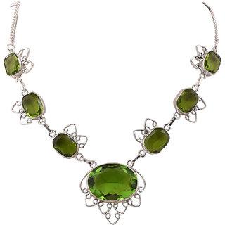 Jewel Fab ArtBeautiful Design Silver Plated With Green Quartz Gemstone Handmade Necklace JEwelry