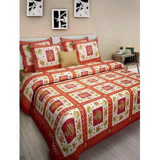Ruby Creation Jaipuri Printed Cotton 1 Double Bedsheet With 2 Pillow Cover (Double417)