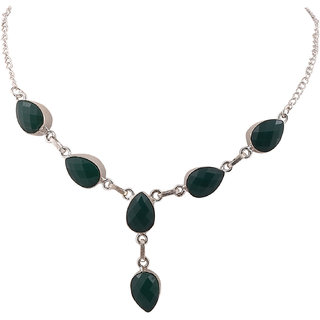 Jewel Fab ArtFaceted Pan Shape Green Onyx Gemstone Handmade silver Plated Jewelry Necklace
