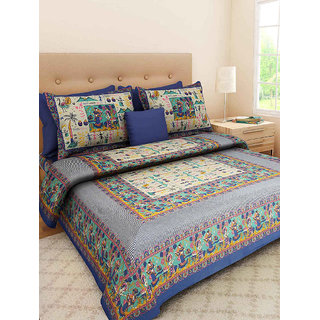 Ruby Creation Jaipuri Printed Cotton 1 Double Bedsheet With 2 Pillow Cover (Double526)