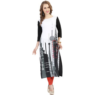 Ziyaa Black Self Design Crepe Straight Kurti