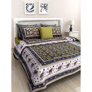 Ruby Creation Cotton Printed 1 Double Bedsheet With 2 Pillow Cover (RUBYDB-1681)