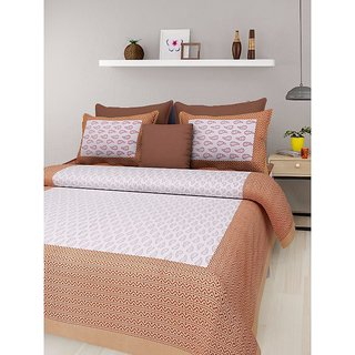 Ruby Creation Cotton Printed 1 Double Bedsheet With 2 Pillow Cover (RUBYDB-621)