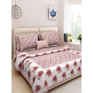 Ruby Creation Cotton Printed 1 Double Bedsheet With 2 Pillow Cover (RUBYDB-964)