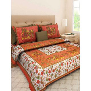 Ruby Creation Cotton Printed 1 Double Bedsheet With 2 Pillow Cover (RUBYDB-1468)