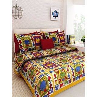 Ruby Creation Cotton Printed 1 Double Bedsheet With 2 Pillow Cover (RUBYDB-1170)
