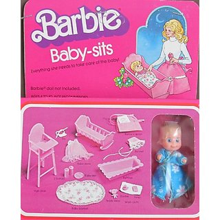 Barbie BABY SITS w Baby Doll & Everything Barbie Doll Needs to Care for Baby Doll (1976 Mattel Hawthorne)