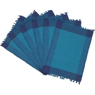 Dhrohar Hand Woven Cotton Table Mat - Pack Of 6 Mats - Blue