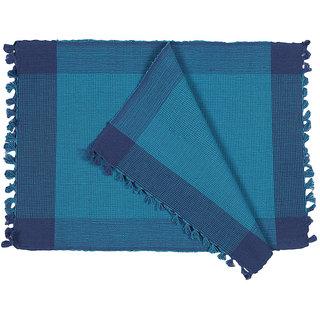 Dhrohar Hand Woven Cotton Table Mat - Pack Of 2 Mats - Blue