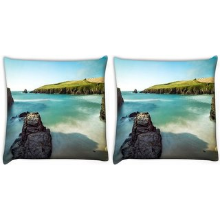 Snoogg Pack Of 2 Beach Side Garden Digitally Printed Cushion Cover Pillow 12 x 12 Inch