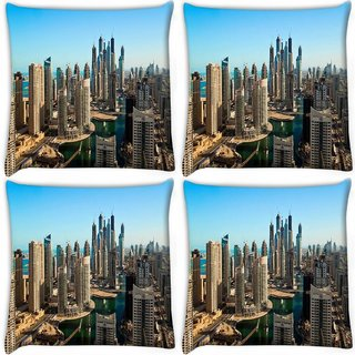 Snoogg Pack Of 3 Buildings In Dubai Digitally Printed Cushion Cover Pillow 20 x 20Inch