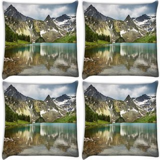 Snoogg Pack Of 4 Mirror Image Of Mountain Digitally Printed Cushion Cover Pillow 12 x 12 Inch