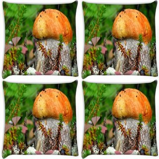 Snoogg Pack Of 4 Orange Mushroom Digitally Printed Cushion Cover Pillow 12 x 12 Inch