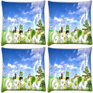Snoogg Pack Of 3 Green Digitally Printed Cushion Cover Pillow 20 x 20Inch