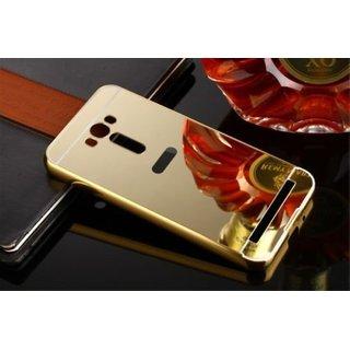 Vinnx Golden Effect Luxury Metal Bumper Acrylic Mirror Back Cover Case For Asus Zenfone 2 Laser 5.5