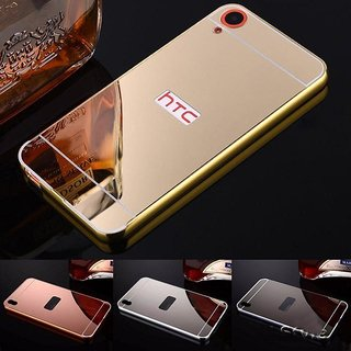 Vinnx Premium Luxury Metal Bumper Acrylic Mirror Back Cover Case For HTC Desire 820 - Golden
