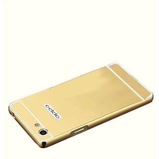 Vinnx Premium Luxury Metal Bumper Acrylic Mirror Back Cover Case For Oppo f1s - Golden