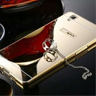 Vinnx Oppo f1 Ultra-Thin Aluminium Alloy Bumper Metal Frame Shiny Mirror Bling Golden Back Case Cover for Oppo f1