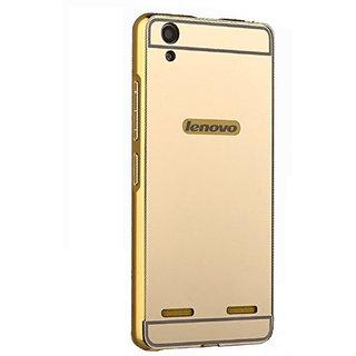 Vinnx Mirror Back Cover For Lenovo A6000 Premium Luxury Metal Bumper Acrylic Mirror Back Cover Case For Lenovo A6000 - Golden