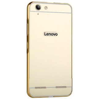Vinnx Lenovo A7000 Mirror Case, Luxury Metal Air Aluminum Bumper Detachable + Mirror Hard PC Back Cover Case 2 in 1 cover Ultra-Thin Frame Case For Lenovo A7000 - Golden