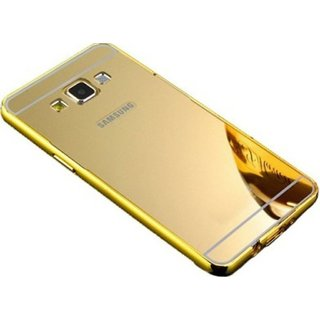 VinnxSamsung Galaxy On 7 Luxury Metal Bumper + Acrylic Mirror Back Cover Case For Samsung Galaxy On 7 (Golden)