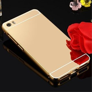 Vinnx Redmi Mi5 Ultra-Thin Aluminium Alloy Bumper Metal Frame Shiny Mirror Bling Golden Back Case Cover for Redmi Mi5