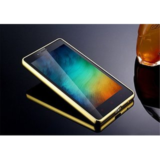 Vinnx Golden Effect Luxury Metal Bumper Acrylic Mirror Back Cover Case For Redmi Note 2S