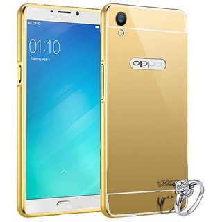 Mirror Case For Oppo F1 Plus Luxury Ultra Slim Metal Aluminum Frame + Acrylic Phone Back Cover Case For Oppo F1 Plus Case - Golden