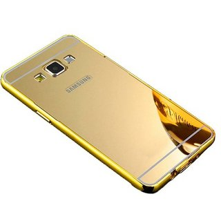 Buy Vinnx Luxury Metal Bumper + Acrylic Mirror Back Cover Case For Samsung Galaxy J7 - Golden Online @ ₹289 from ShopClues