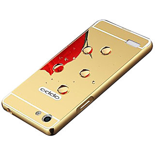 Vinnx Luxury Metal Bumper + Acrylic Mirror Back Cover Case For Oppo Neo 5 - Golden