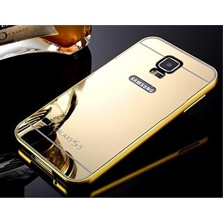 Vinnx Premium Luxury Metal Bumper Acrylic Mirror Back Cover Case For Samsung Galaxy S5 I9600 - Golden