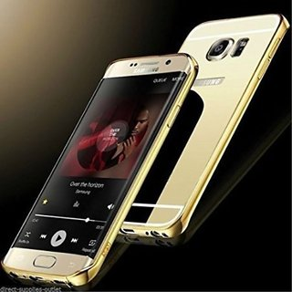 Vinnx Mirror Back Cover Case with Acrylic Bumper Frame for Samsung Galaxy S6 Edge Plus (Golden)