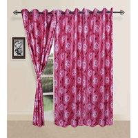 Deal Wala Pack Of 2 Flower Design Eyelet Door Curtain{sp18}