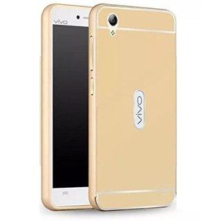 Vivo Y51/Y51L Luxury Metal Bumper Acrylic Mirror Back Cover Case-Golden