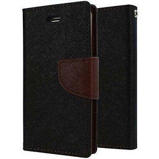 HTC Desire 516 Flip Cover Mercury Dairy & Wallet Case (Black & Brown)