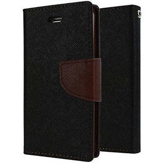 ITbEST Premium Synthetic Leather Flip Wallet Case with Card Slot for Micromax Canvas Pep Q371 - Black & Brown