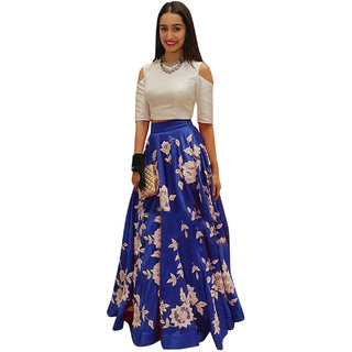 Surat Tex Dark  Blue  White Color Party Wear Semi-Stitched Embroidered Heavy Banglory Emboridery work Lehenga Choli Wit