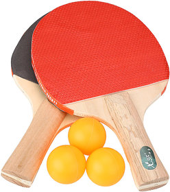 WOODY TABLE TENNIS/PING PONG SET 2 RACKETS AND FREE 3 BALLS