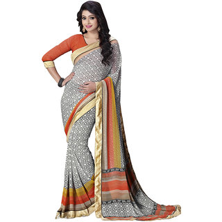 Swaron Multicolor Georgette Printed Saree With Blouse