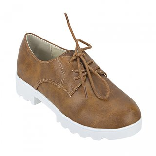 Joy n Fun Brown and White Casual Lace Shoes